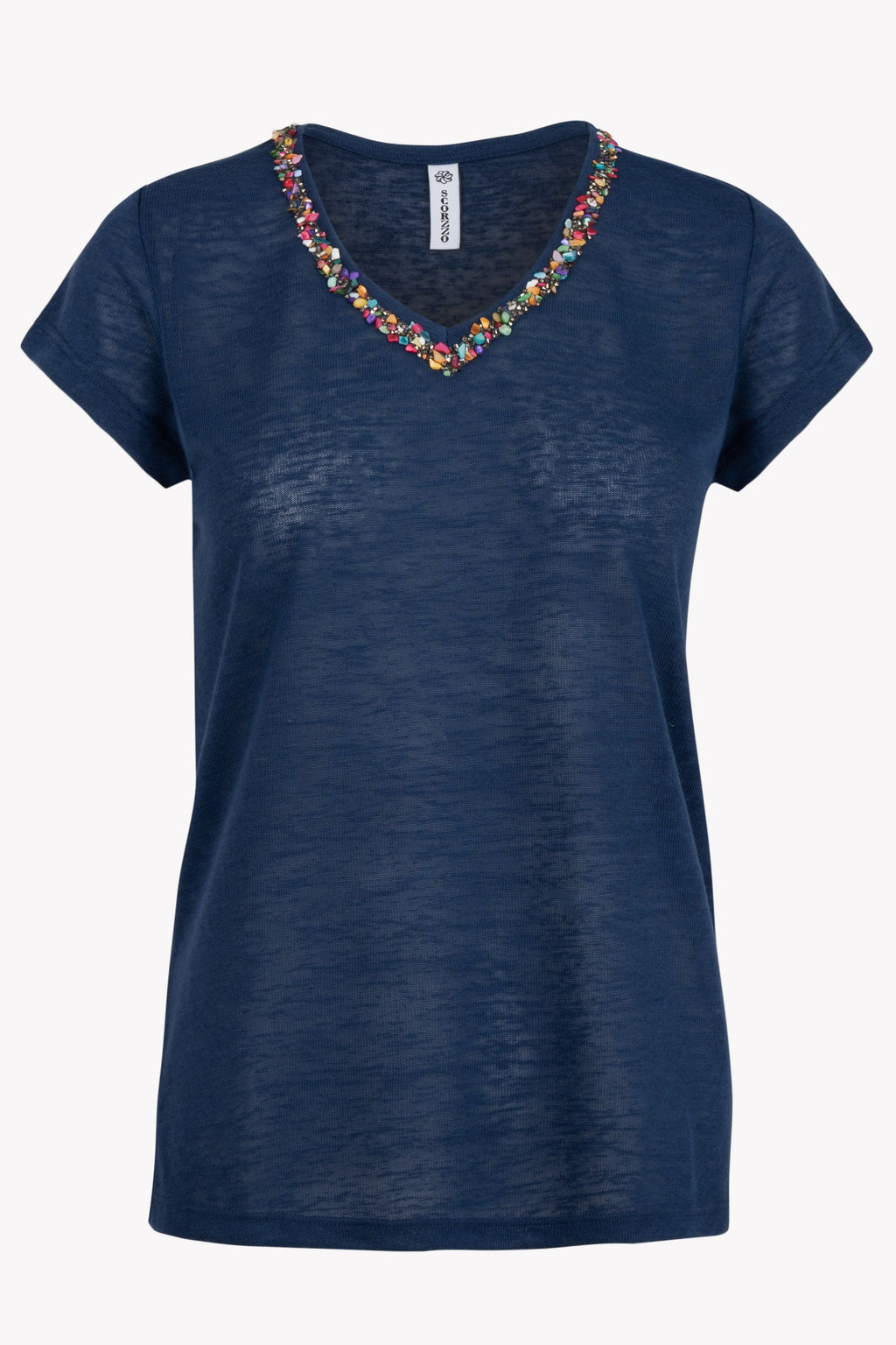 Linen Twinkle T-shirt by 'Scorzzo' in Navy