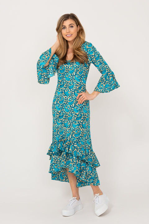 Victoria Dress Peacock Swirl