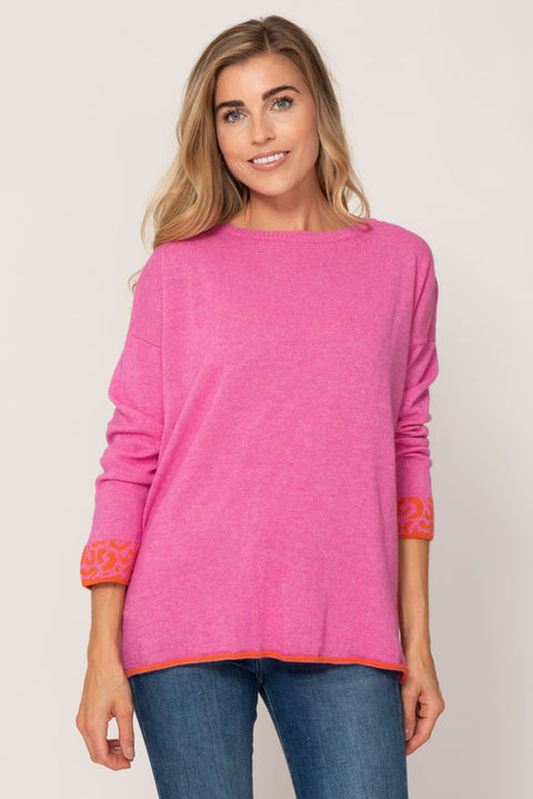 Cashmere sweater- Pink and Orange Leopard Stripe