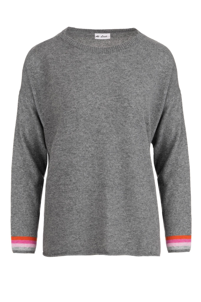 Cashmere Sweater- Grey with Pink Elbow