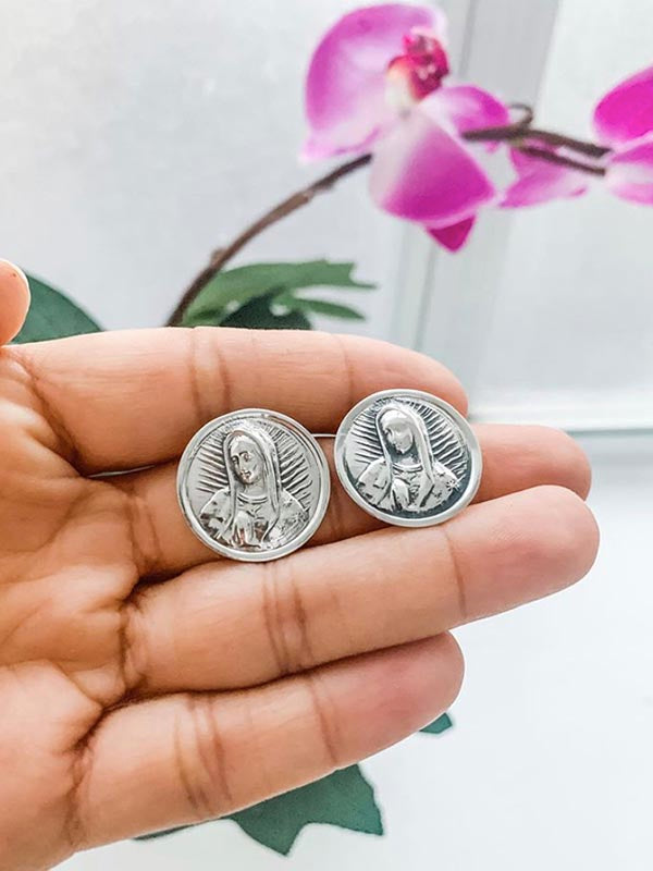 Virgin of Guadalupe face earrings