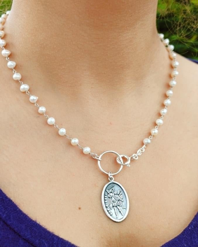 Saint Michael with pearls necklace