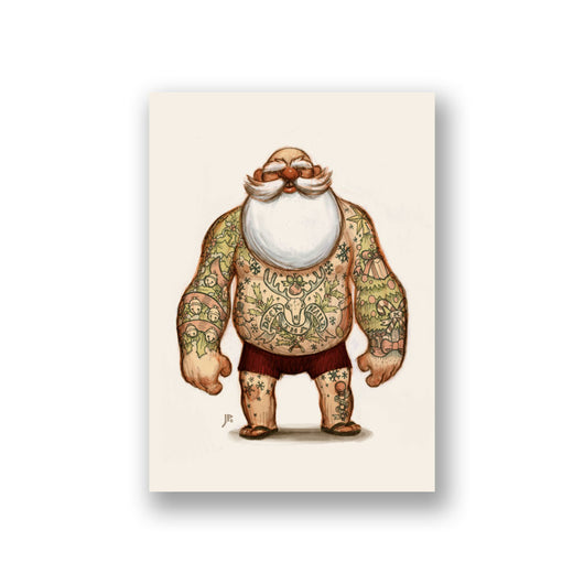 Tattooed Santa Cards