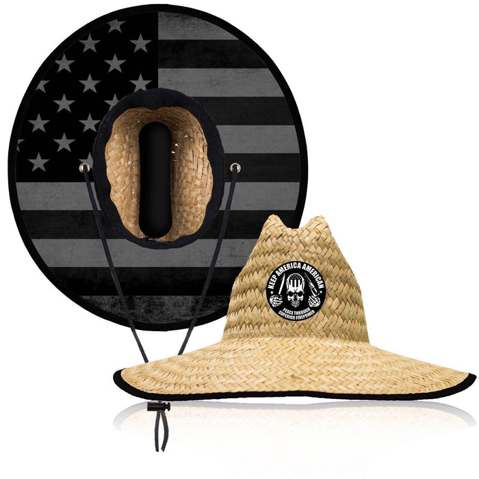 Keep America American LifeGuard Straw Hat -  USA BRIM