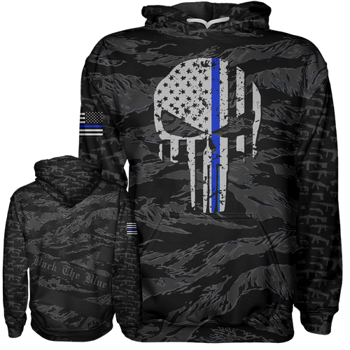 Thin Blue Line Punisher Hoodie