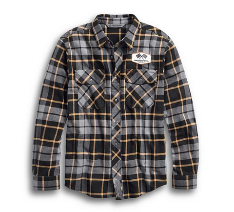 Men's Winged Cycle Slim Fit Plaid Shirt