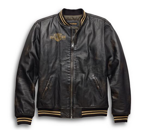 Men's Leander Slim Fit Leather Bomber Jacket