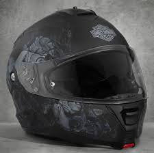 Harley-Davidson® Mens Intrepid Allover Graphics H24 Sun Shield Matte Black Full Face Modular Helmet