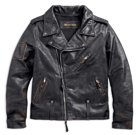 Harley-Davidson® Men's Master Distressed Slim Fit Leather Biker Jacket