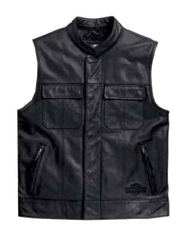 Harley-Davidson® Men's Leather Vest, Foster Reflective, Black