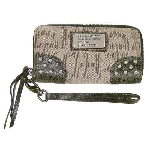 HARLEY-DAVIDSON® TAN JACQUARD ZIP AROUND CLUTCH