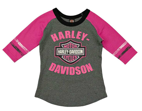 Harley-Davidson® Girls' 3/4 Sleeve Interlock Tee