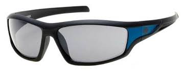 Men's Bar & Shield Rubber Sunglasses, Black Frame & Smoke Lens