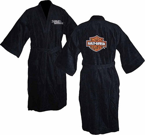 "Harley-Davidson Mens B&S 48"" Velour Black Cotton Bath Robe"