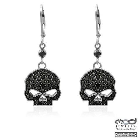 Black Bling Willie G Skull Dangle Earrings