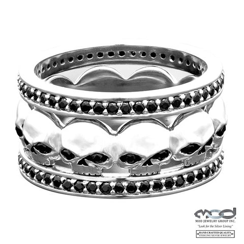 Black Stone Skull Stacking Ring