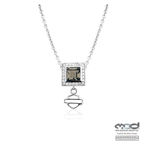 Black Ice Crystal Square Necklace