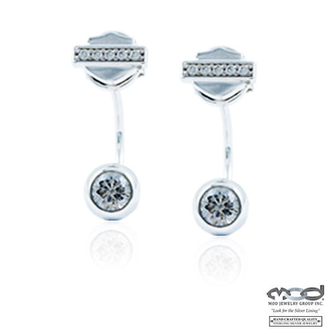 B&S White Bling Suspension Earrings