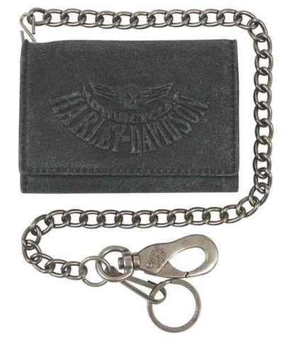 Harley-Davidson® Men's Skull Washed Medium Trifold biker wallet