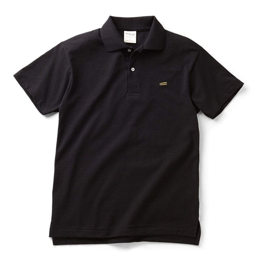 The Wright Brothers USA Shirts & Sweaters Black / S Cotton pique tennis shirt | Black