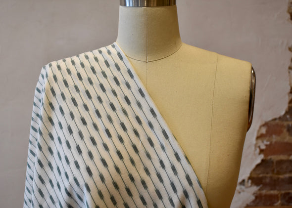 Single Ikat - Green on White