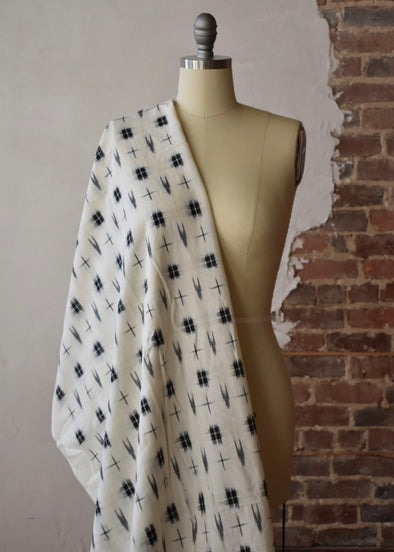 Squares & Arrows Ikat - White