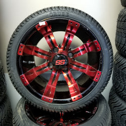 "12"" Tempest Red Wheel with Low Profile Tire Kit(4)"