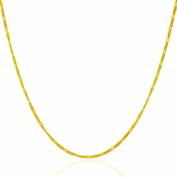 1.3mm 14K Yellow Gold Solid Figaro Chain
