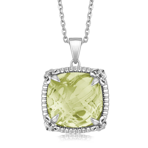 Sterling Silver Pendant with with White Sapphire Embellished Green Amethyst