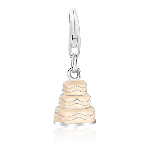Sterling Silver Wedding Cake Charm in White Tone Enamel Finishing