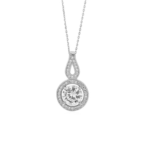 Circle and Teardrop Pendant with Cubic Zirconia in Sterling Silver