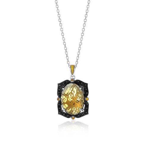 18K Yellow Gold & Sterling Silver Oval Pendant with Citrine, Quartz, & Diamonds