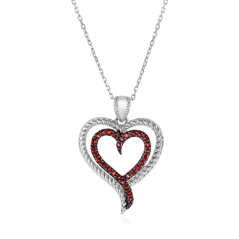 Sterling Silver Double Heart Pendant with Garnets
