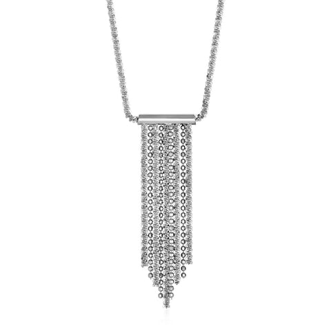 Necklace with Polished and Textured Multi Chain Bar Pendant in Sterling Silver