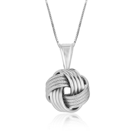Sterling Silver Pendant with a Ridge Textured Love Knot Design