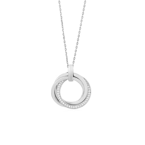 Interlocking Rings Pendant with Cubic Zirconia in Sterling Silver