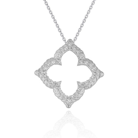 14K White Gold Diamond Cut-out Flower Pendant (1/3 ct. tw.)