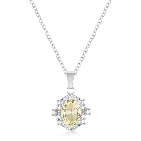 10mm Oval Cut Jonquil Cubic Zirconia Fashion Pendant