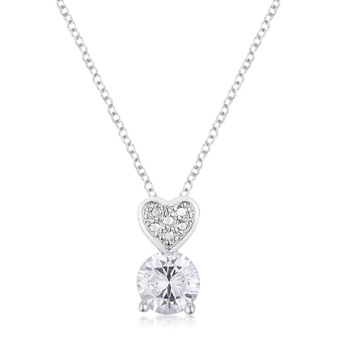 8mm Clear Cubic Zirconia Fashion Heart Pendant