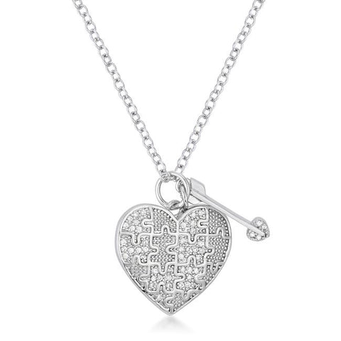 .12 Ct Rhodium Heart and Arrow Pendant with CZ