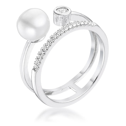 .15Ct Rhodium Plated CZ and Freshwater Pearl Contemporary Double