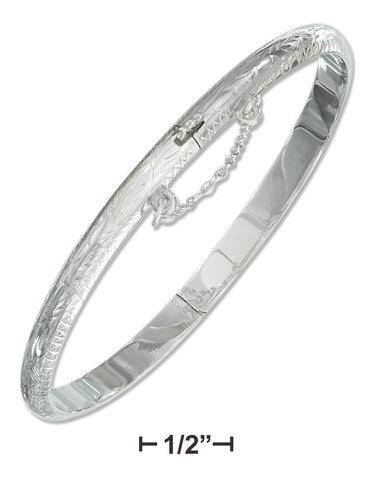 STERLING SILVER 5MM ENGRAVED BANGLE BRACELET