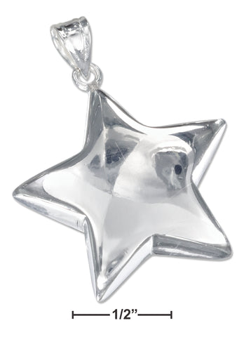 STERLING SILVER LARGE SHINING STAR PENDANT
