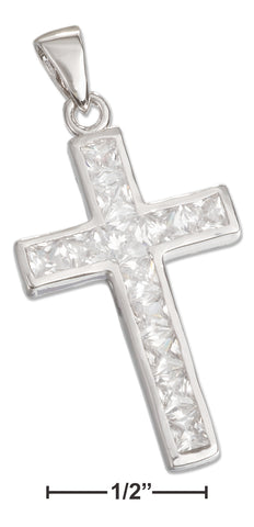 STERLING SILVER CHANNEL SET PRINCESS CUT CUBIC ZIRCONIA CROSS PENDANT