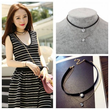 Fashion New Arrival Trendy Leather Choker Necklace with Crystal