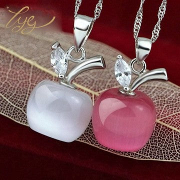 New Fashion Opal Silver Plated Apple Pendant Necklace jewelry Pink /