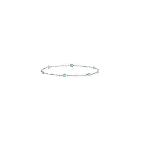 Aquamarine Bracelet By The Yard 7 Inch White Gold 14K with 0.60