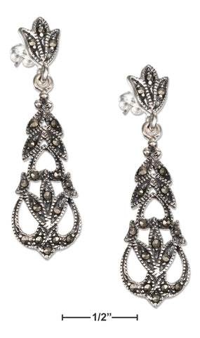 STERLING SILVER FILIGREE AND FLORAL MARCASITE DANGLE POST EARRINGS