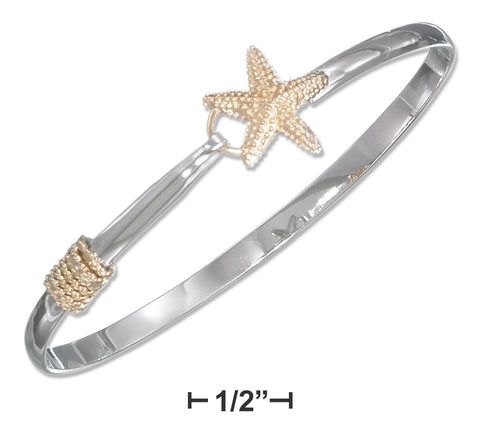 STERLING SILVER TWO-TONE STARFISH BANGLE BRACELET (HOOK CLOSURE)