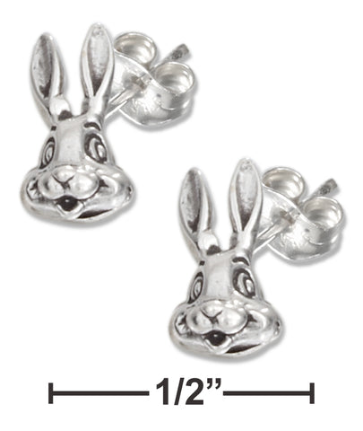 STERLING SILVER BUNNY RABBIT FACE EARRINGS ON STAINLESS STEEL POSTS